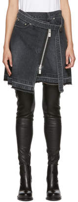 Sacai Black Denim Asymmetric Wrap Miniskirt