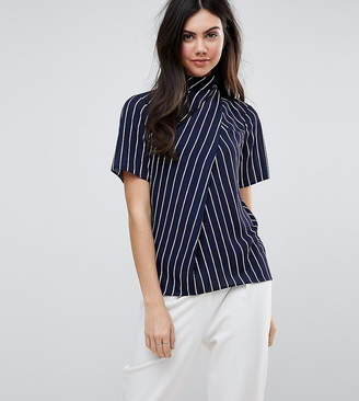 Asos Tall TALL Ruched High Neck T-Shirt in Stripe