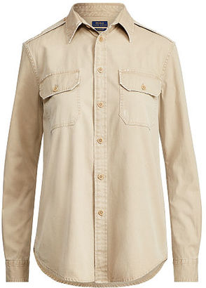 Polo Ralph Lauren Cotton Chino Military Shirt $125 thestylecure.com