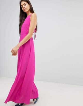 Asos Design Open Back Halter Maxi Dress