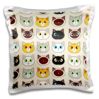 3dRose Cute Cat Cattitude Pattern Cute Cat Expressions - Pillow Case, 16 by 16-inch