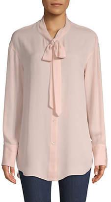 Theory Weekender Tie-Neck Silk Button-Down Shirt