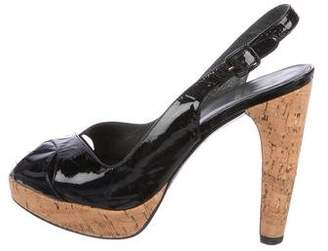 Stuart Weitzman Ex Sling Patent Leather Sandals