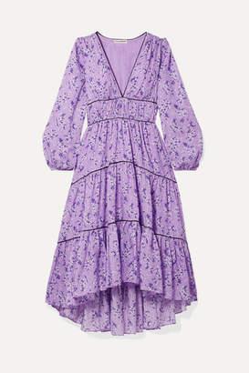 Ulla Johnson Joan Tiered Floral-print Cotton And Silk-blend Midi Dress - Lilac