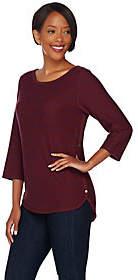 C. Wonder French Terry 3/4 Sleeve Striped Shirtw/ Hi-Low Hem