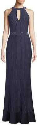 St. John Halter-Neck Sleeveless Luxe Ottoman Knit Evening Gown w/ Sequins
