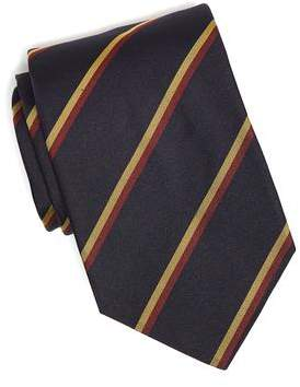 Drakes Drake's Navy Double Stripe Silk Repp Tie