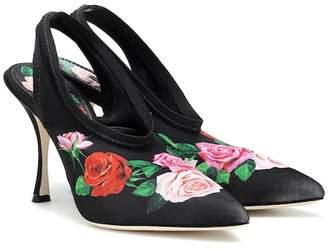 Dolce & Gabbana Lori floral satin slingback pumps