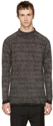 Rick Owens Black Oversized Jacquard Sweater
