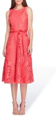Tahari Tropical Leaf Lace A-Line Dress