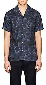 Officine Generale Men's Dario Leaf-Print Slub Cotton Shirt - Black