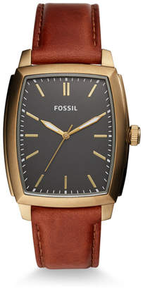 Fossil Burnett Three-Hand Brown Leather Watch
