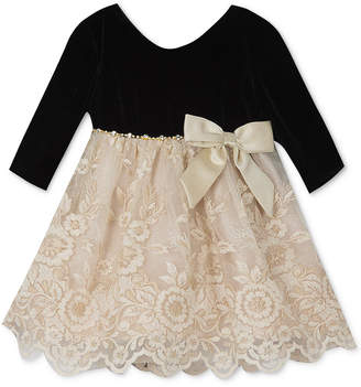 Rare Editions Baby Girls Lace Velvet Dress