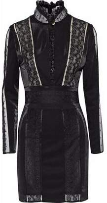 Pierre Balmain Lace-Paneled Stretch-Knit Mini Dress