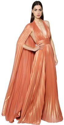 Plisse Georgette Lamé Gown W/ Cape $4,550 thestylecure.com
