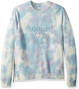 GUESS Men's Long Sleeve Finch Tie Dye Crew
