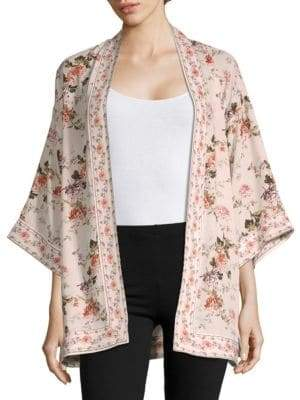 Max Studio Floral Three-Quarter Kimono