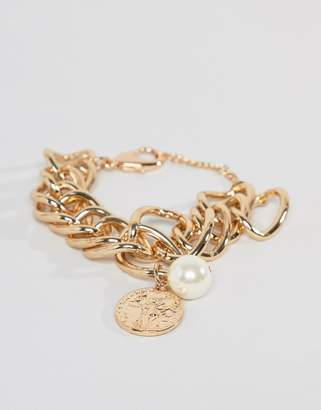 Missguided chunky bracelet in gold with coin and pearl charms