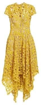 Oscar de la Renta Cap Sleeve Embroidery Handkerchief Dress