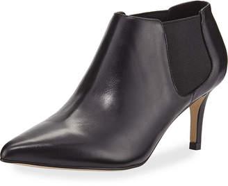 Neiman Marcus Mars Leather Kitten-Heel Booties