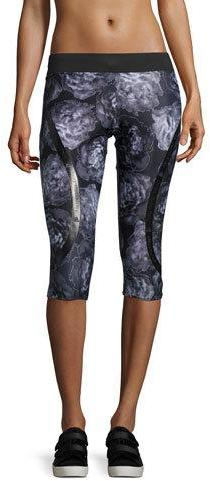 adidas by Stella McCartney Run ClimaLite® 3/4-Length Floral-Print Compression Tights, Black