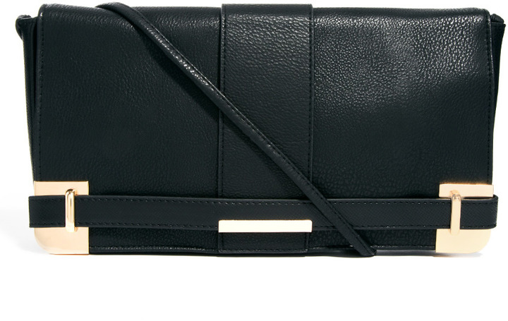 Asos Clutch Bag With Corner Plate And Side Strap