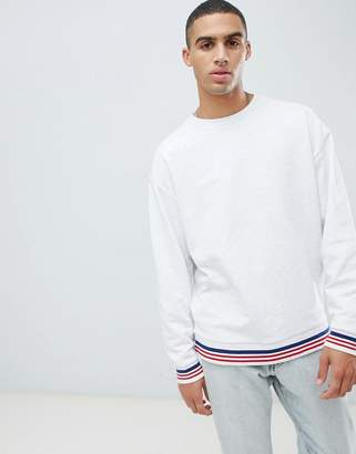 Asos DESIGN oversized sweatshirt in white marl with tipping