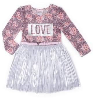 Little Lass Long Sleeve Tulle Tiered Ruffle Skirt Dress (Baby Girls & Toddler Girls)