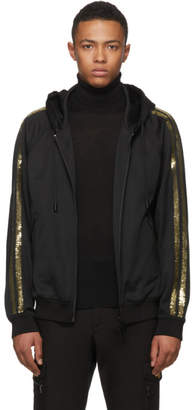 DSQUARED2 Black and Gold Sequin Zip Hoodie
