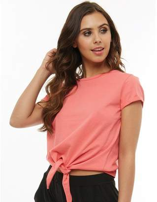 Board Angels Womens Tie Front Top Sugar Coral