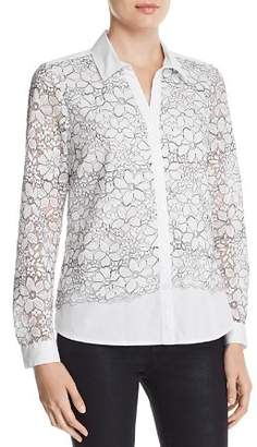Karl Lagerfeld Paris Floral-Embroidered Lace-Overlay Blouse