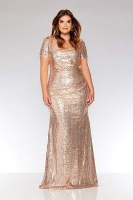1670c9c06ab9 Quiz Curve Rose Gold Sequin Maxi Dress