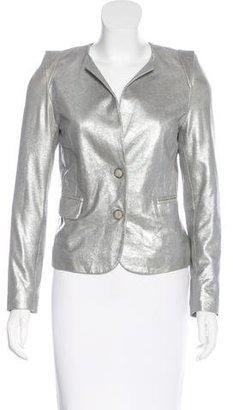 Sandro Leather Metallic Blazer $125 thestylecure.com