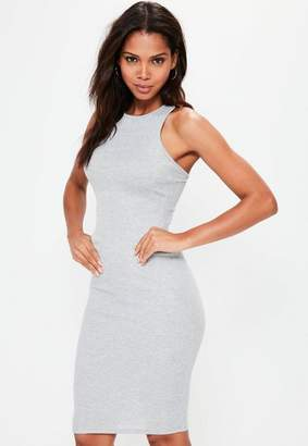 Missguided Gray Ribbed Cross Back Bodycon Midi Dress