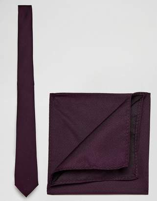 Asos Burgundy Tie and Pocket Square Pack