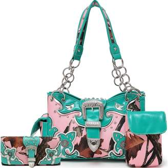 Cowgirl Trendy Western Concealed Carry Camouflage Belts Buckle Purse Handbag Shoulder Bag Wallet Set