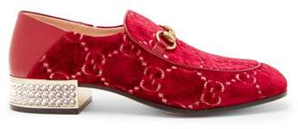 Gucci Mister Gg Crystal Embellished Velvet Loafers - Womens - Red