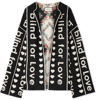 Gucci Oversized Wool And Cashmere-blend Jacquard Jacket - Black