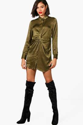 boohoo Twist Front Hammered Satin Shirt Dress