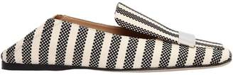 Sergio Rossi 10mm Metal Plaque Woven Canvas Loafers