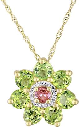 Laura Ashley Jewelry Sterling 2.35 cttw Gemstone & Diamond Necklace