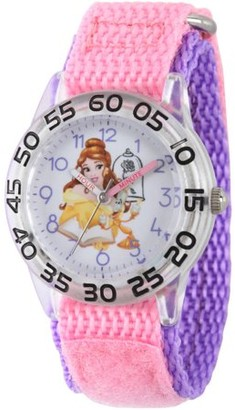 Disney Princess Belle Girls' Clear Plastic Time Teacher Watch, Pink Hook and Loop Nylon Strap with Purple Backing