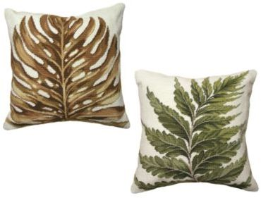 Palm Leaf or Fern Needlepoint Pillow