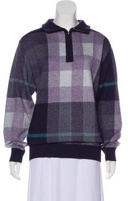 Burberry Exploded Check Zip-Up Sweater