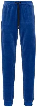 Versace logo embroidered cotton blend velvet sweatpants