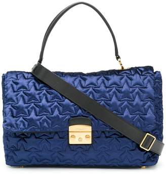 Furla star quilted satin tote