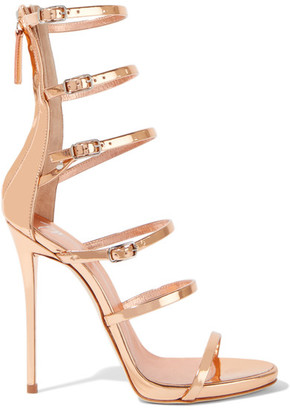 Giuseppe Zanotti - Mirrored-leather Sandals - Rose gold $950 thestylecure.com