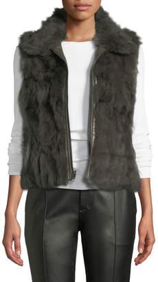 Adrienne Landau Zip-Front Rabbit Fur Vest, Green