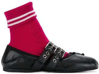 Miu Miu sock embellished ballerina flats