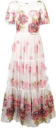 Marchesa floral print long dress